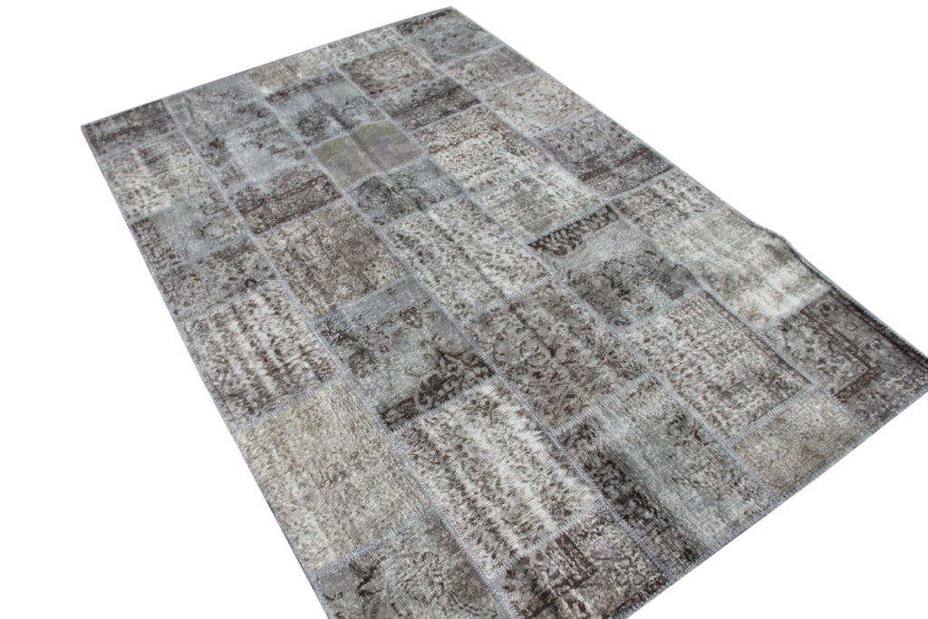 Grijs patchwork vloerkleed 001 (297cm x 200cm) gemaakt van oude recoloured vloerkleden