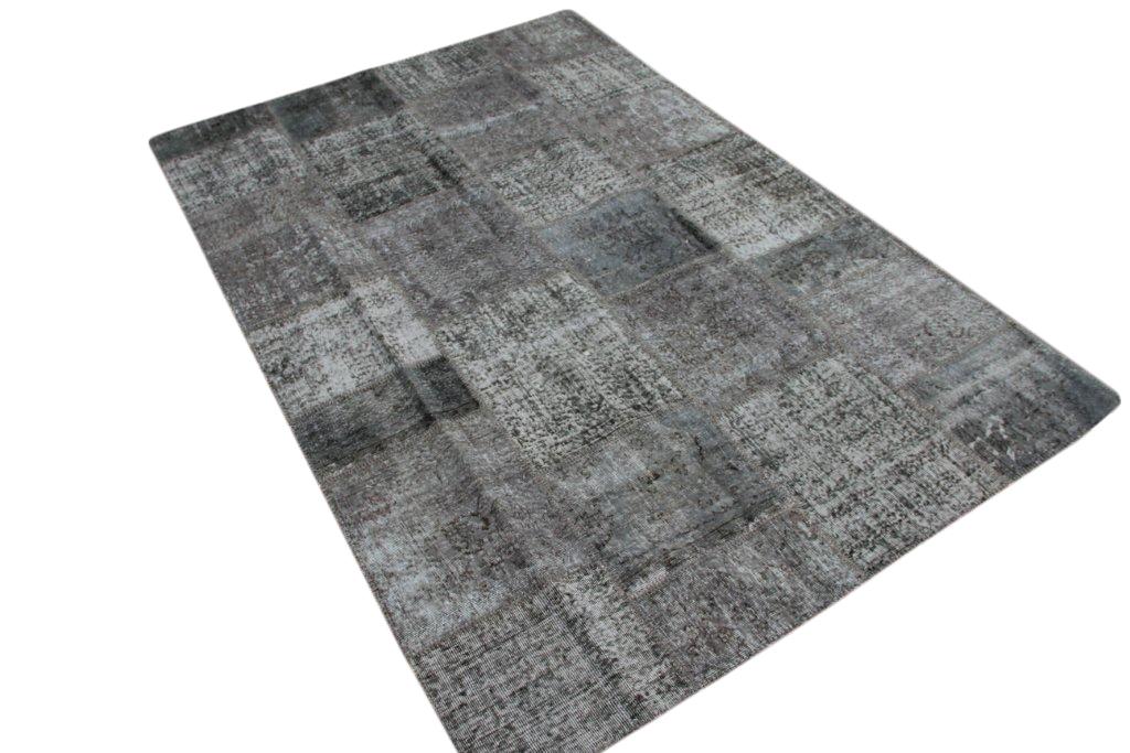 Grijs patchwork vloerkleed   004 (307cm x 202cm) gemaakt vintage vloerkleden incl.onderkleed van katoen.
