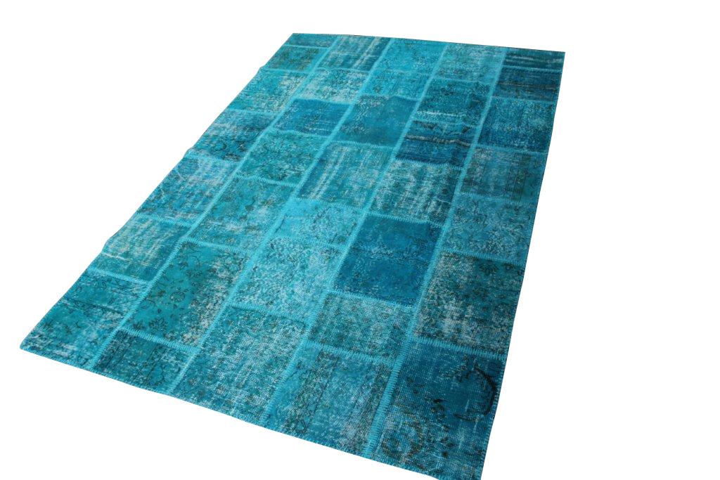 Vintage blauw patchwork vloerkleed 005D (300cm x 200cm) Verkocht!!