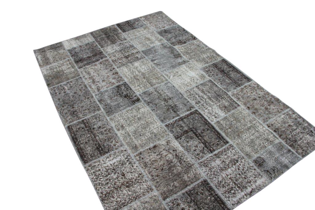 Grijs patchwork vloerkleed 008 (298cm x 203cm) gemaakt van oude recoloured vloerkleden