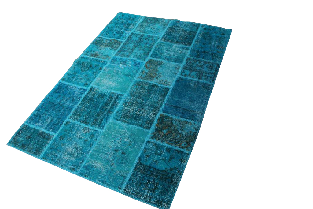 Aqua blauw patchwork vloerkleed 009D (230cm x 160cm)