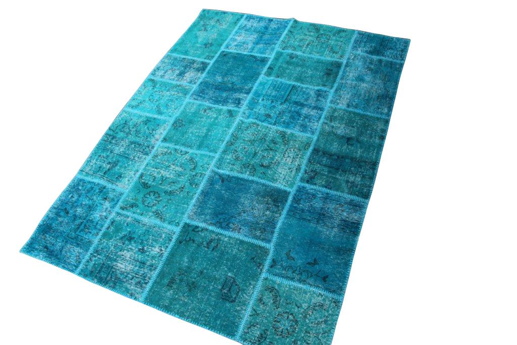 Vintage patchwork vloerkleed 010 (234cm x 174cm) gemaakt van oude recoloured vloerkleden
