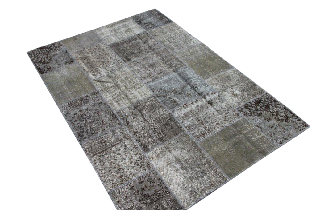 Grijs patchwork vloerkleed 0011 (239cm x 168cm) gemaakt van oude recoloured vloerkleden