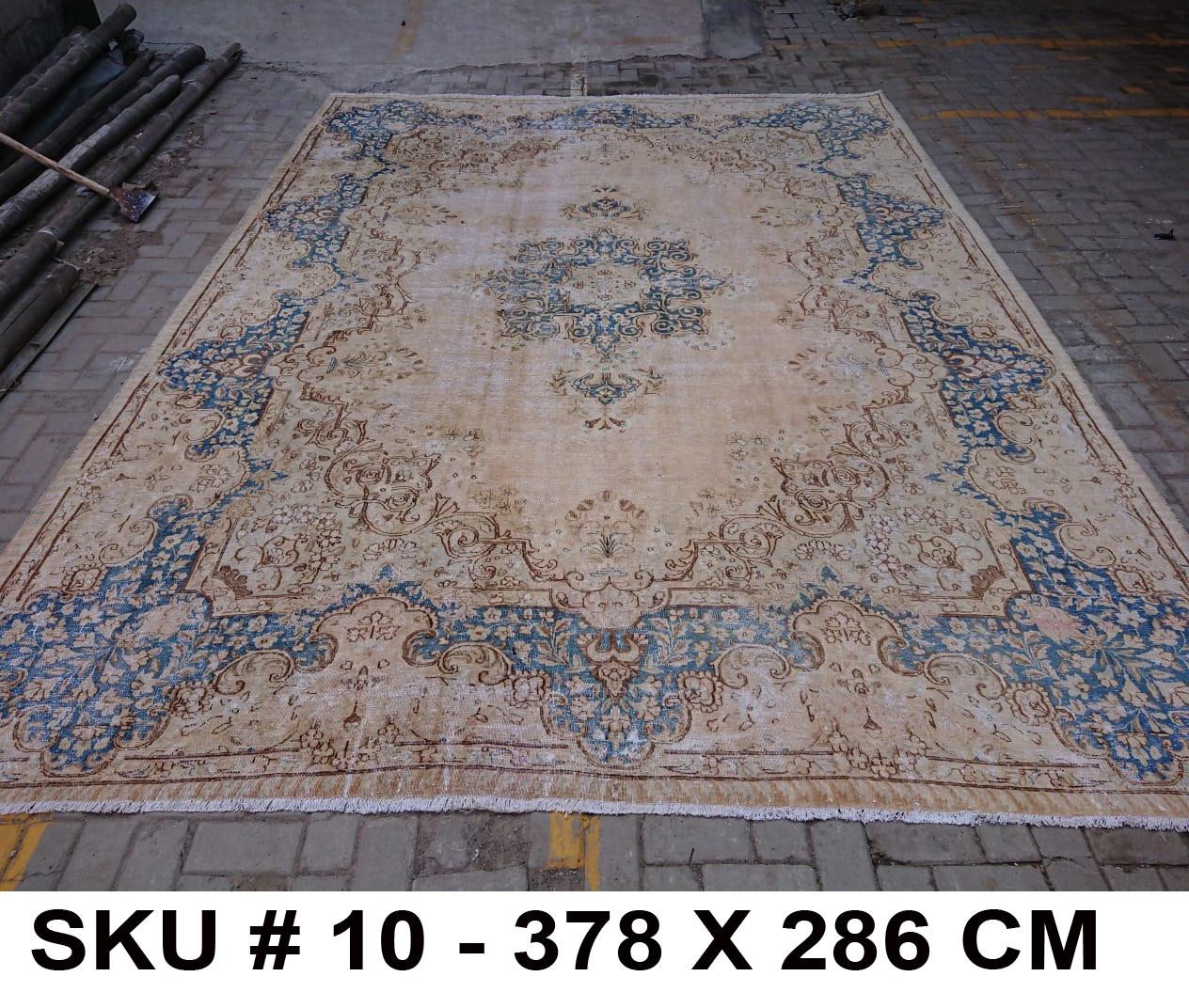 Vintage vloerkleed zandkleur met blauw, nr.62340, 378cm x 286cm