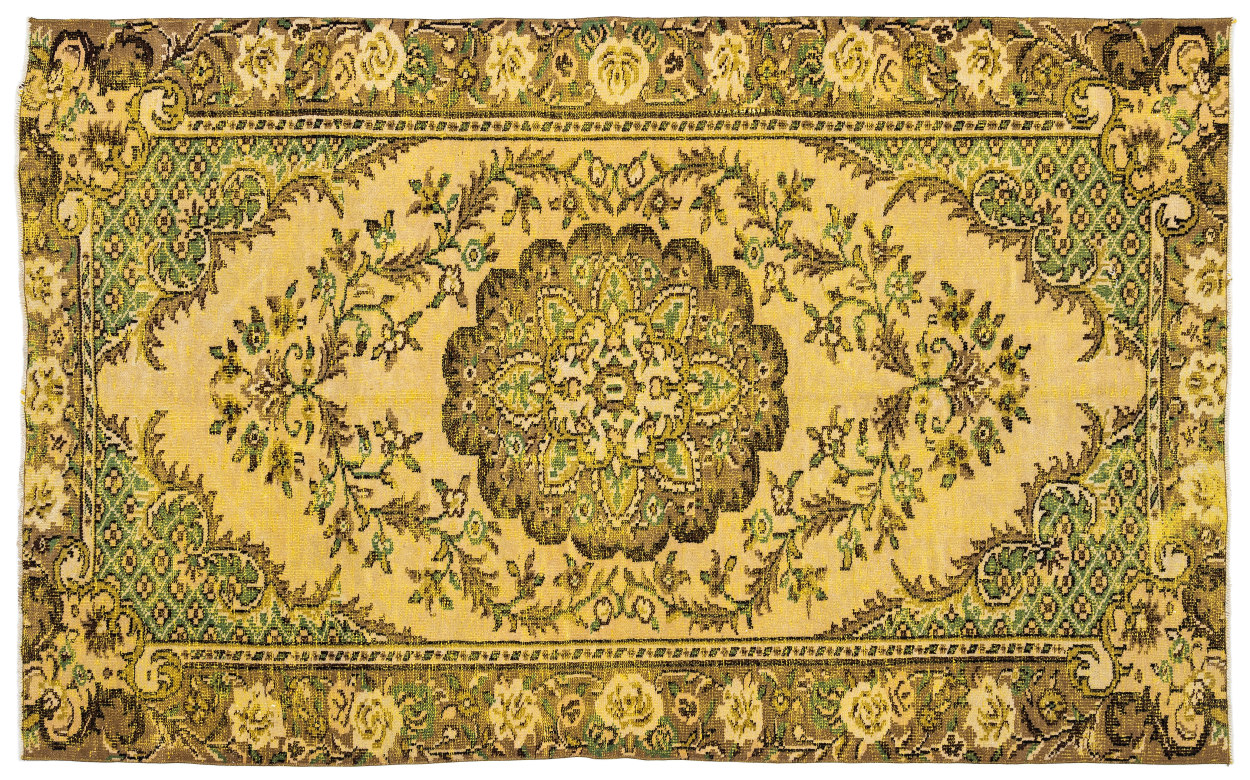 Vintage vloerkleed geel met groen 10053 274cm x 163cm