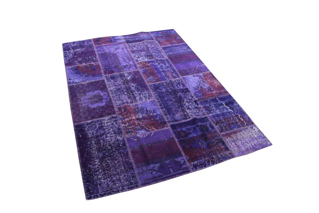 Paars patchwork vloerkleed uit Turkije  240cm x 170cm, no 1030