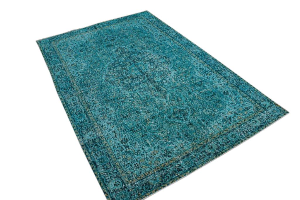 Recoloured  blauw vintage vloerkleed  uit Turkije 310cm x 210cm, no 104