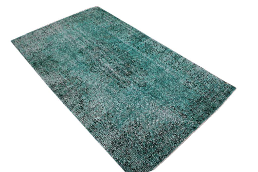 Recoloured  zeegroen vintage vloerkleed  uit Turkije 276cm x 180cm, no 106