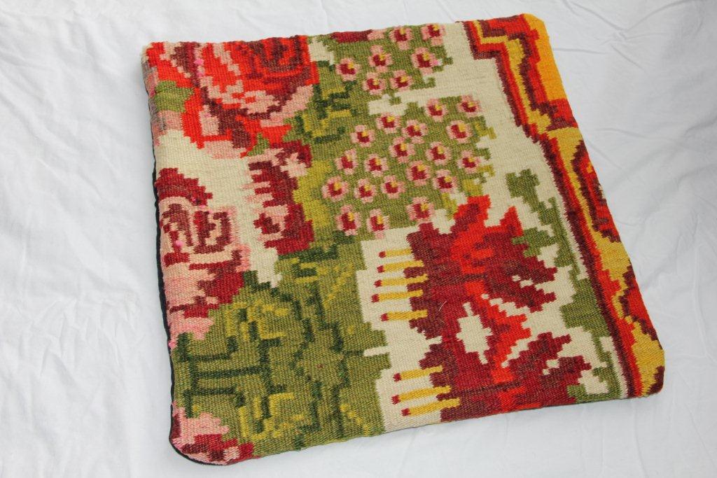 Kelim kussen  45cm x 45cm, handgeweven uit Moldavië, no 1104 wordt geleverd incl. binnenkussen