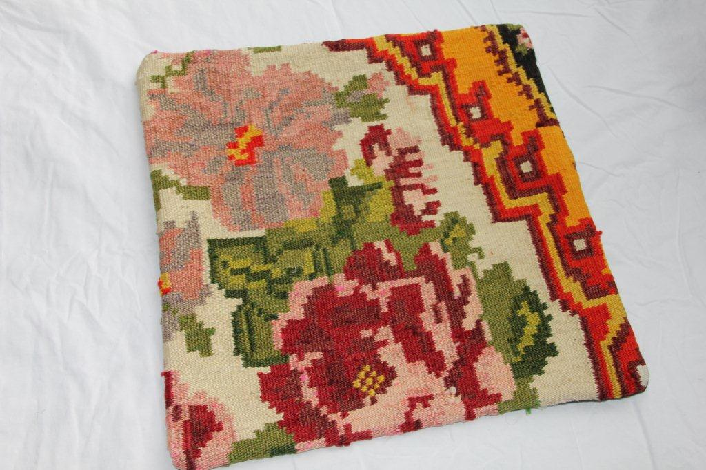Kelim kussen  45cm x 45cm, handgeweven uit Moldavië, no 1114 wordt geleverd incl. binnenkussen