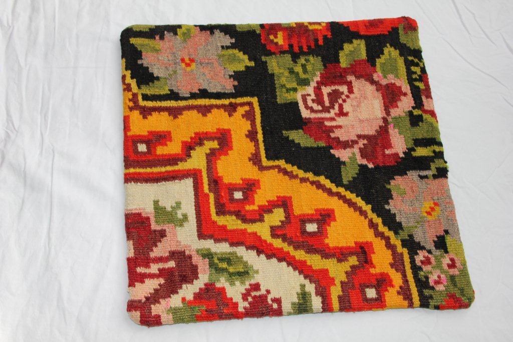 Kelim kussen  45cm x 45cm, handgeweven uit Moldavië, no 1121 wordt geleverd incl. binnenkussen