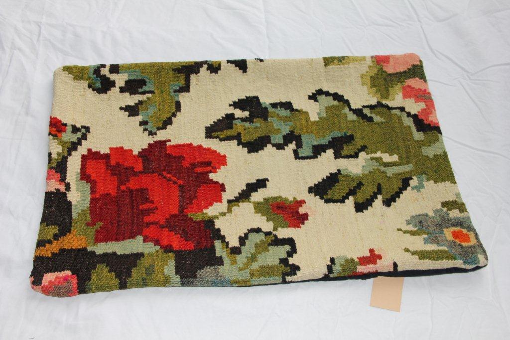 Kelim kussen  60cm x 40cm, handgeweven uit Moldavië, no 1174 wordt geleverd incl. binnenkussen