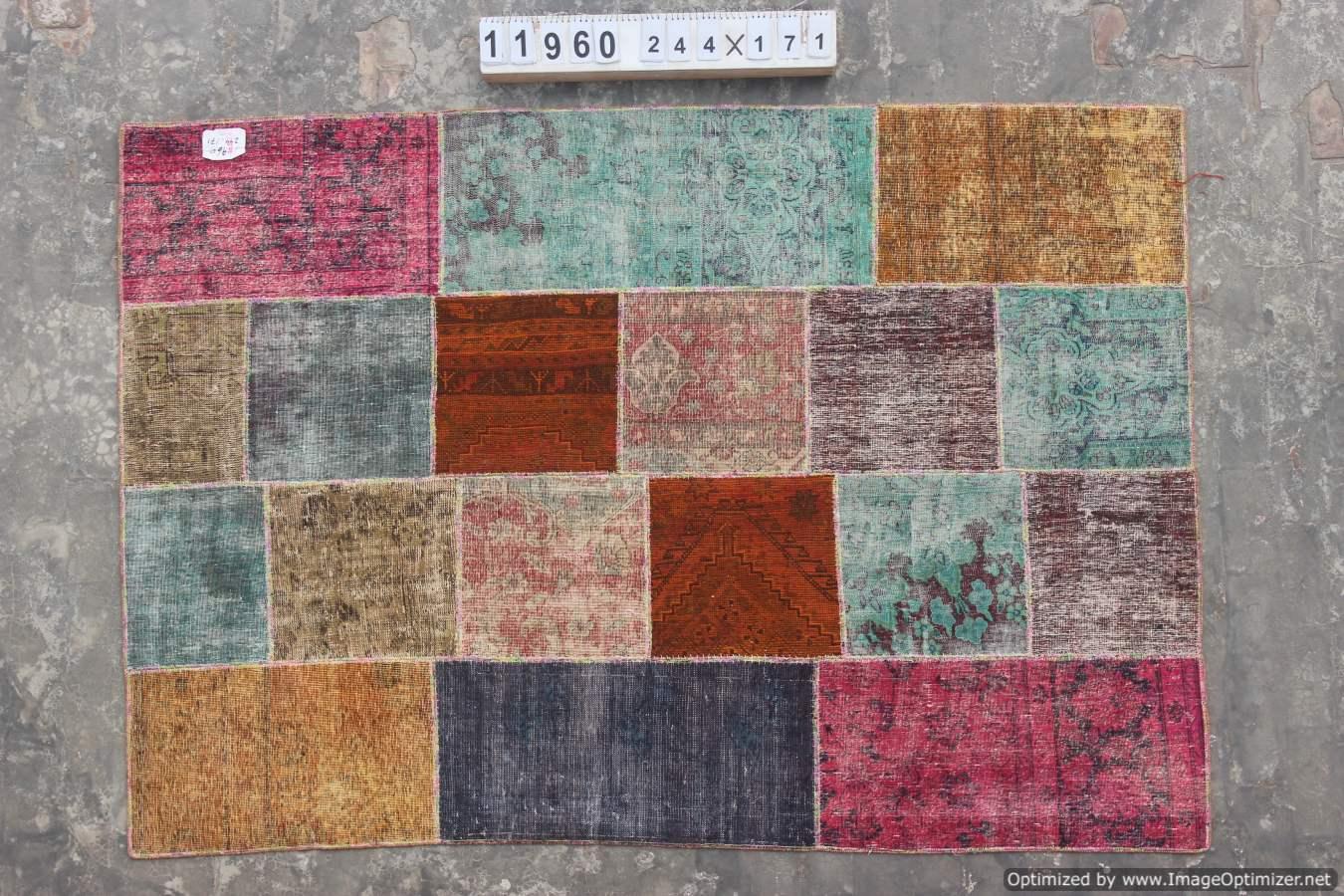 Multicolor patchwork vloerkleed uit Iran 244cm x 171cm, no 11960 gemaakt uit oude perzen. v