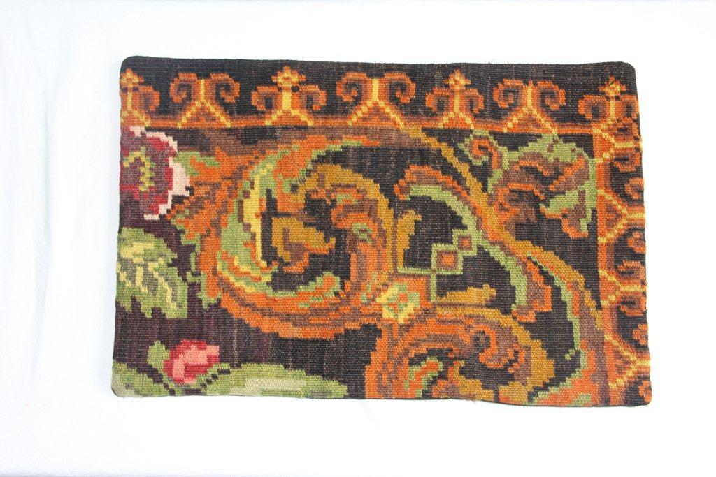 Rozenkelim kussen nr 12004 (60cm x 40cm) Kussen gemaakt van authentieke rozenkelim, inclusief binnenkussen