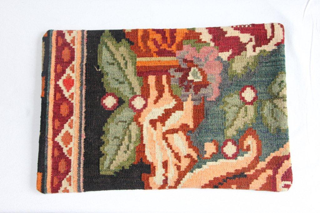 Rozenkelim kussen nr 12008 (60cm x 40cm) Kussen gemaakt van authentieke rozenkelim, inclusief binnenkussen