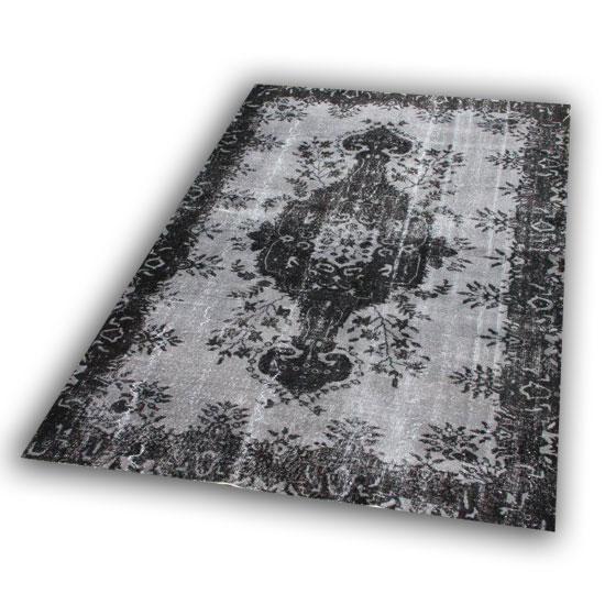 Grijs zwart vintage tapijt 12094 (250cm x 172cm) recoloured vloerkleed