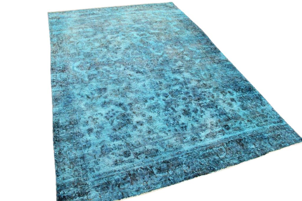 Aqua vintage vloerkleed