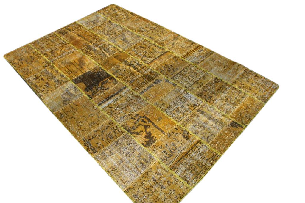 Okergeel patchwork vloerkleed uit Turkije 300cm x 200cm, no 1266
