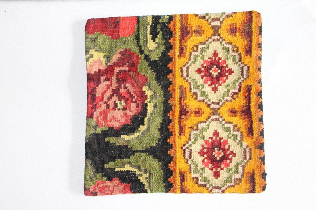 Rozenkelim kussen nr 13011     (45 cm x 45 cm) Kussen gemaakt van authentieke rozenkelim, inclusief binnenkussen