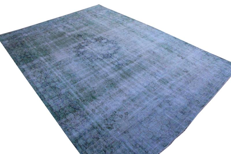 Zeegroen met blauw vintage vloerkleed nr 1310 ( 339cm x 257cm)