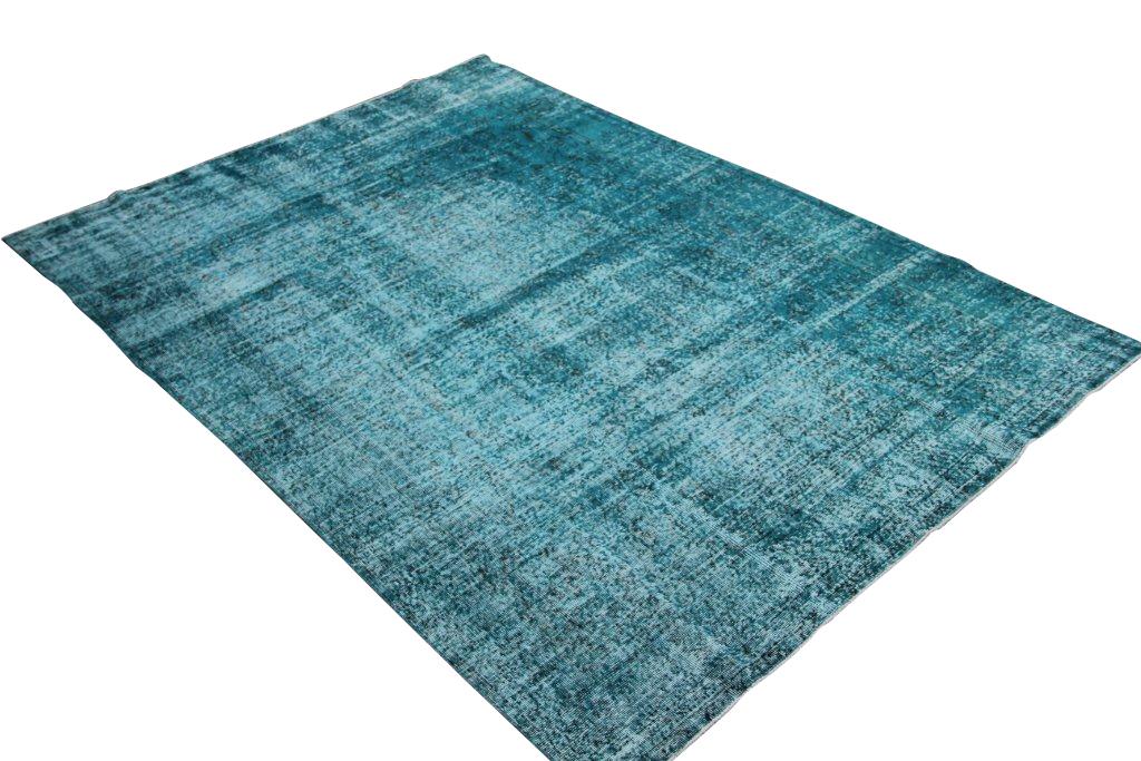 Blauw authentiek tapijt no 1316 (286cm x 200cm) vloerkleed wat een nieuwe hippe trendy kleur heeft gekregen.