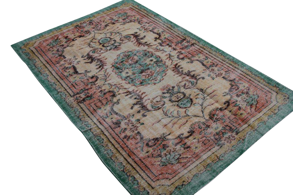 Vintage tapijt no 1396 (285cm x 183cm) vloerkleed wat een nieuwe hippe trendy kleur heeft gekregen.