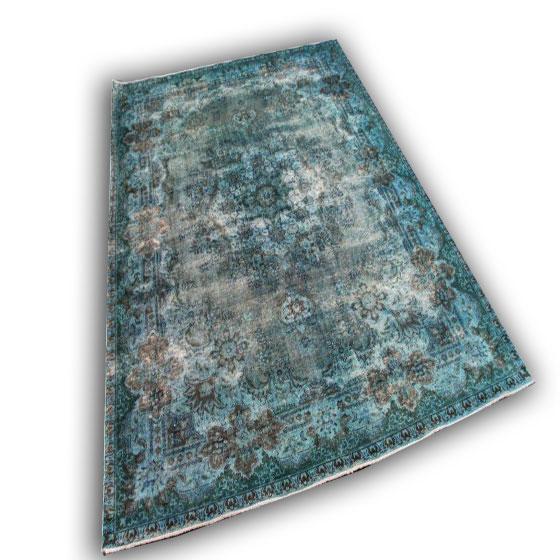 Aqua zeegroen vintage vloerkleed (326cm x 237cm)