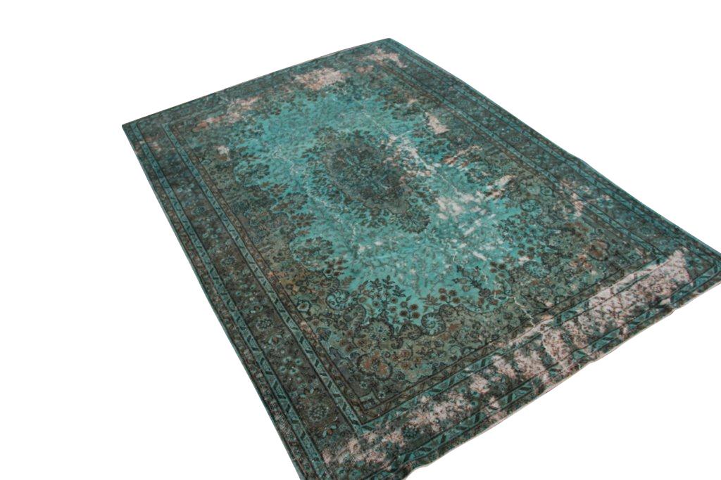 Vintage tapijt no 1404 (297cm x 211cm) vloerkleed wat een nieuwe hippe trendy kleur heeft gekregen.