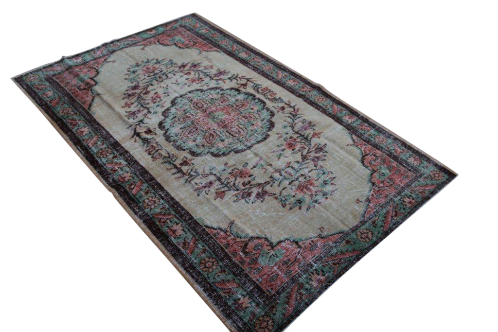 Recoloured vintage Isparta vloerkleed 272cm x 181cm, no 1405