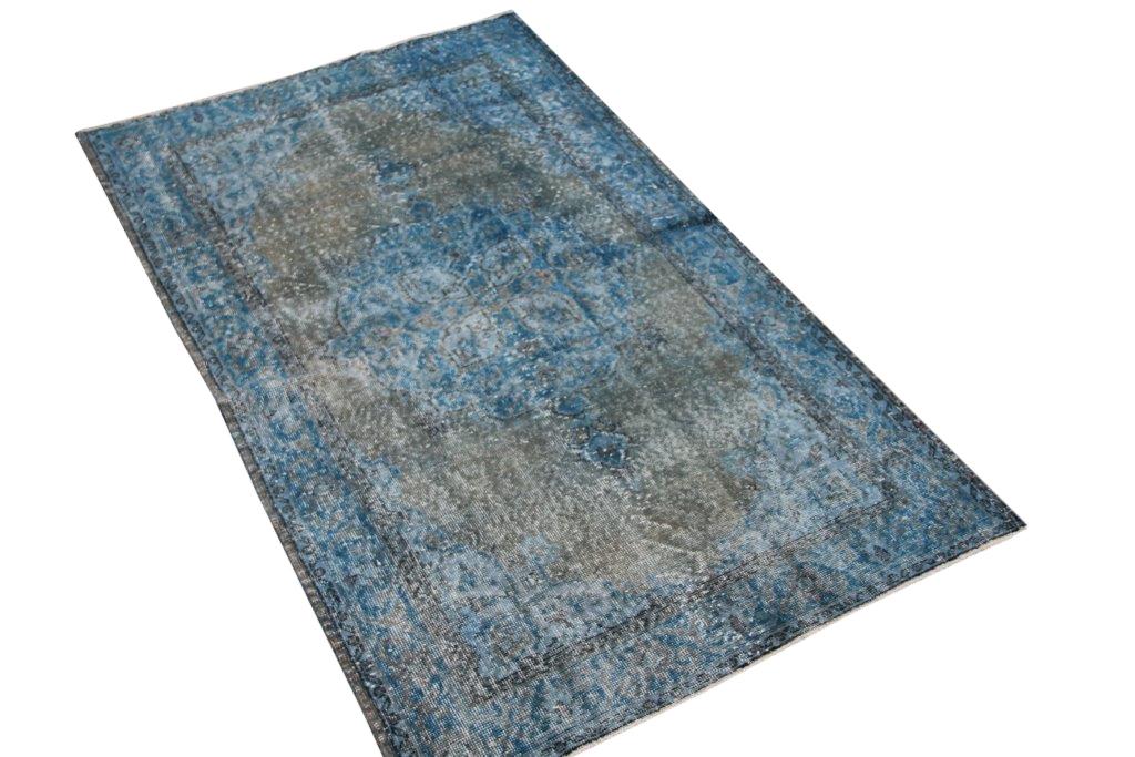 NIEUW BINNEN taupe met blauw vloerkleed  uit Turkije 200cm x 117cm, no 141