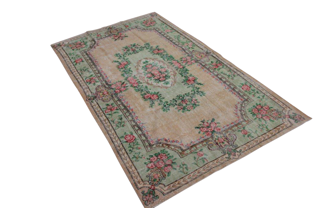 Vintage tapijt no 1448 (300cm x 178cm) vloerkleed wat een nieuwe hippe trendy kleur heeft gekregen.