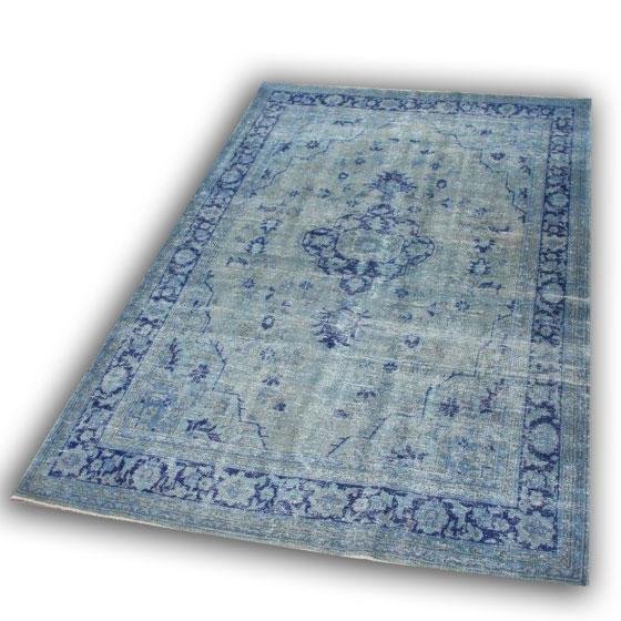 Vintage blauw vloerkleed nr 16 ( 270cm x 181cm)