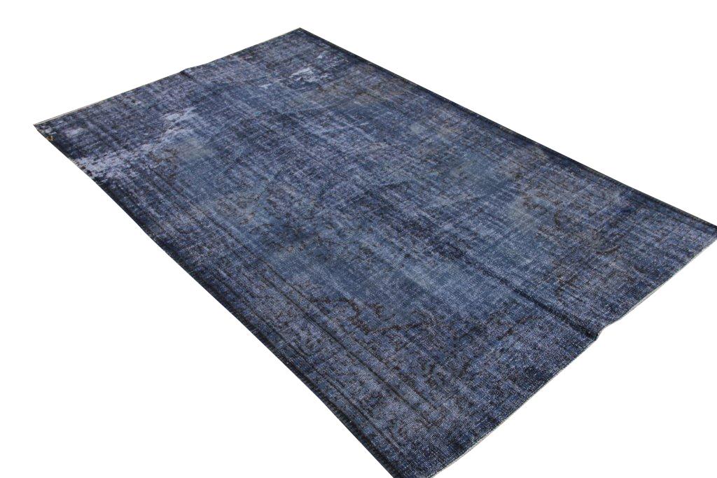 Recoloured blauw vintage vloerkleed  uit Turkije 270cm x 186cm, no 165