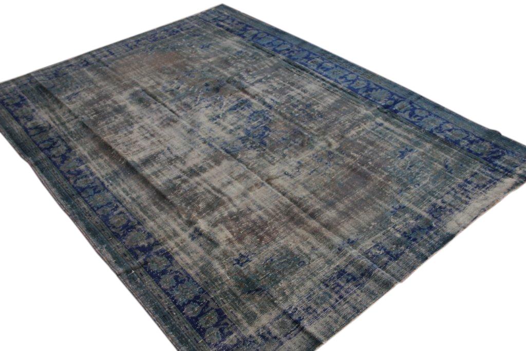 Vintage vloerkleed grijs met blauw  uit Turkije 310cm x 228cm, no 1692