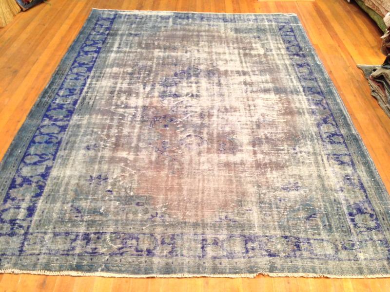 Grijs met blauw vintage vloerkleed 310cm x 228cm, no 1692