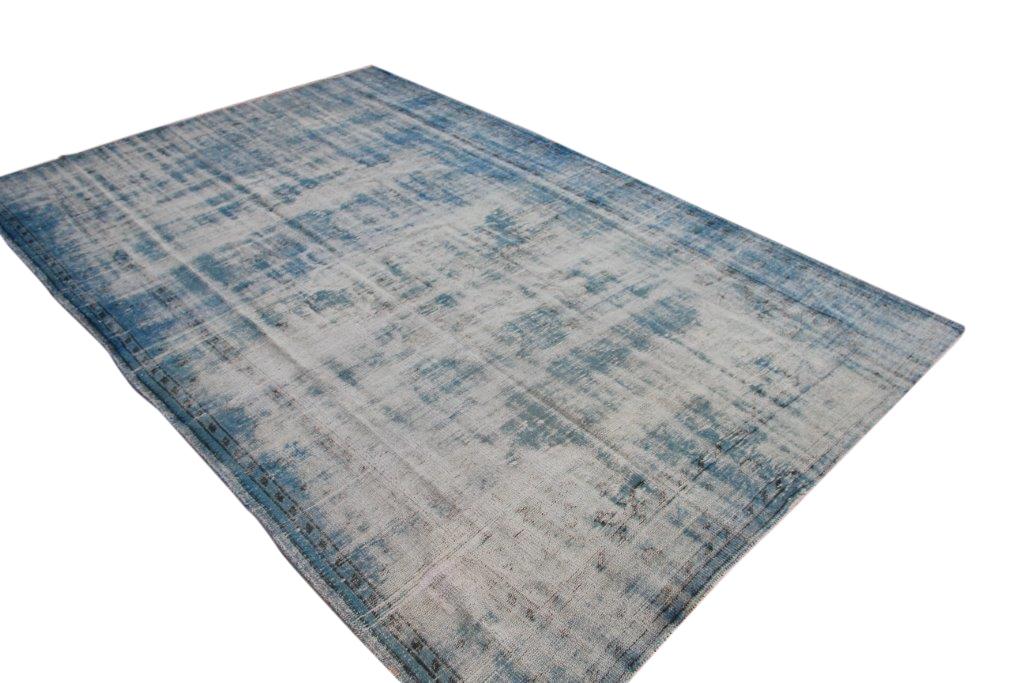 NIEUW BINNEN versleten look blauw vloerkleed  uit Turkije 304cm x 201cm, no 172