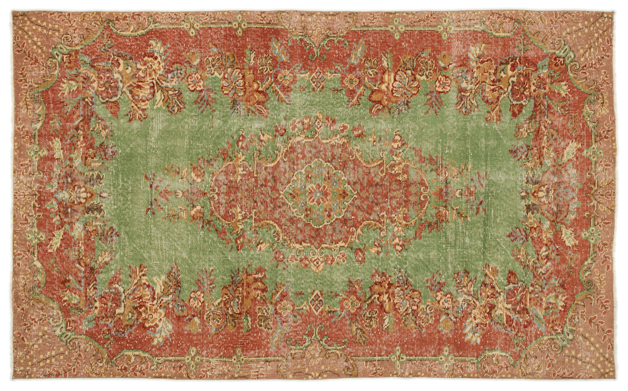 Vintage vloerkleed rood, oranje, groen 17261 249cm x 151cm