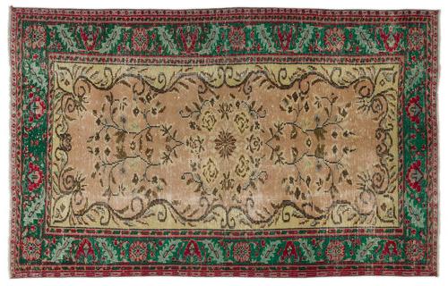 vintage vloerkleed groen rood bruin 17584 268cm x 170cm