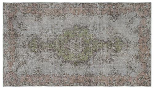 Vintage vloerkleed grijs groen roze 18165 278cm x 158cm