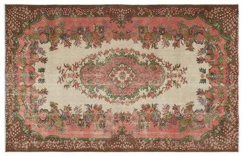 vintage vloerkleed roze groen bruin 18216 256cm x 165cm