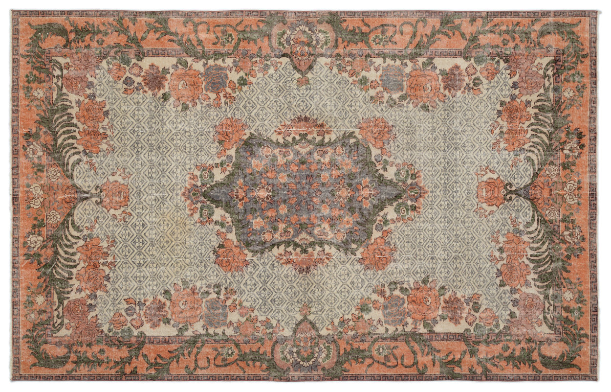 Vintage vloerkleed oranje met wit 18420 297cm x 192cm
