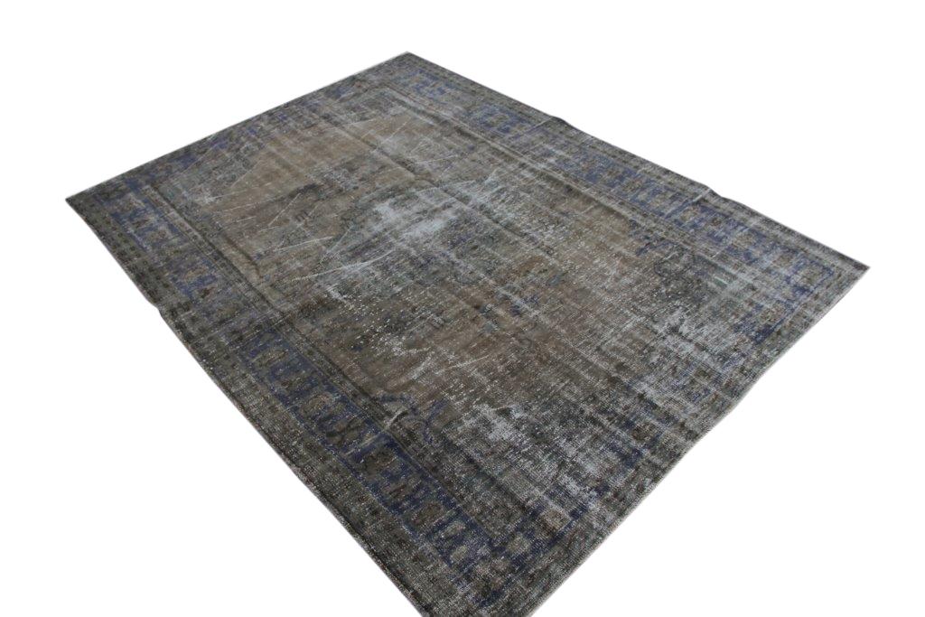 NIEUW BINNEN versleten look taupe blauw grijs vloerkleed  uit Turkije 281cm x 178cm, no 187
