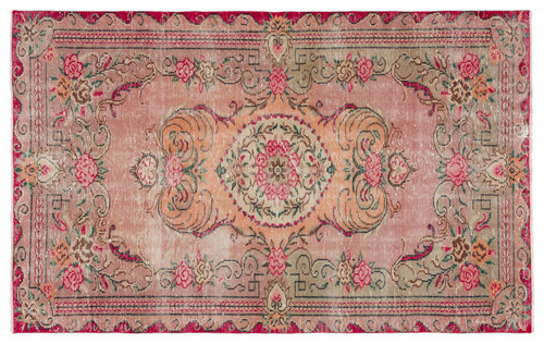 vintage vloerkleed rood roze 19328 249cm x 153cm
