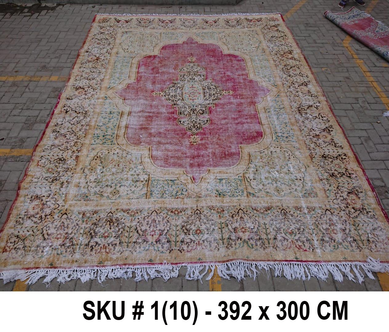 Vintage vloerkleed zandkleur met rood, nr.59002, 392cm x 300cm