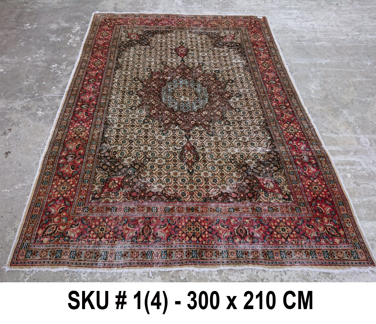 Vintage vloerkleed rood, nr.59005, 300cm x 210cm