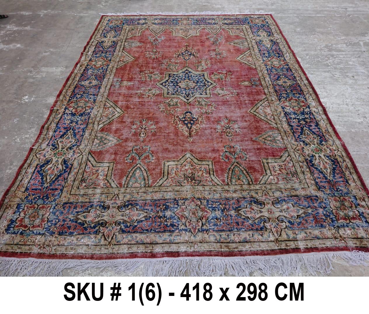 Vintage vloerkleed rood en blauw, nr.59004, 418cm x 298cm