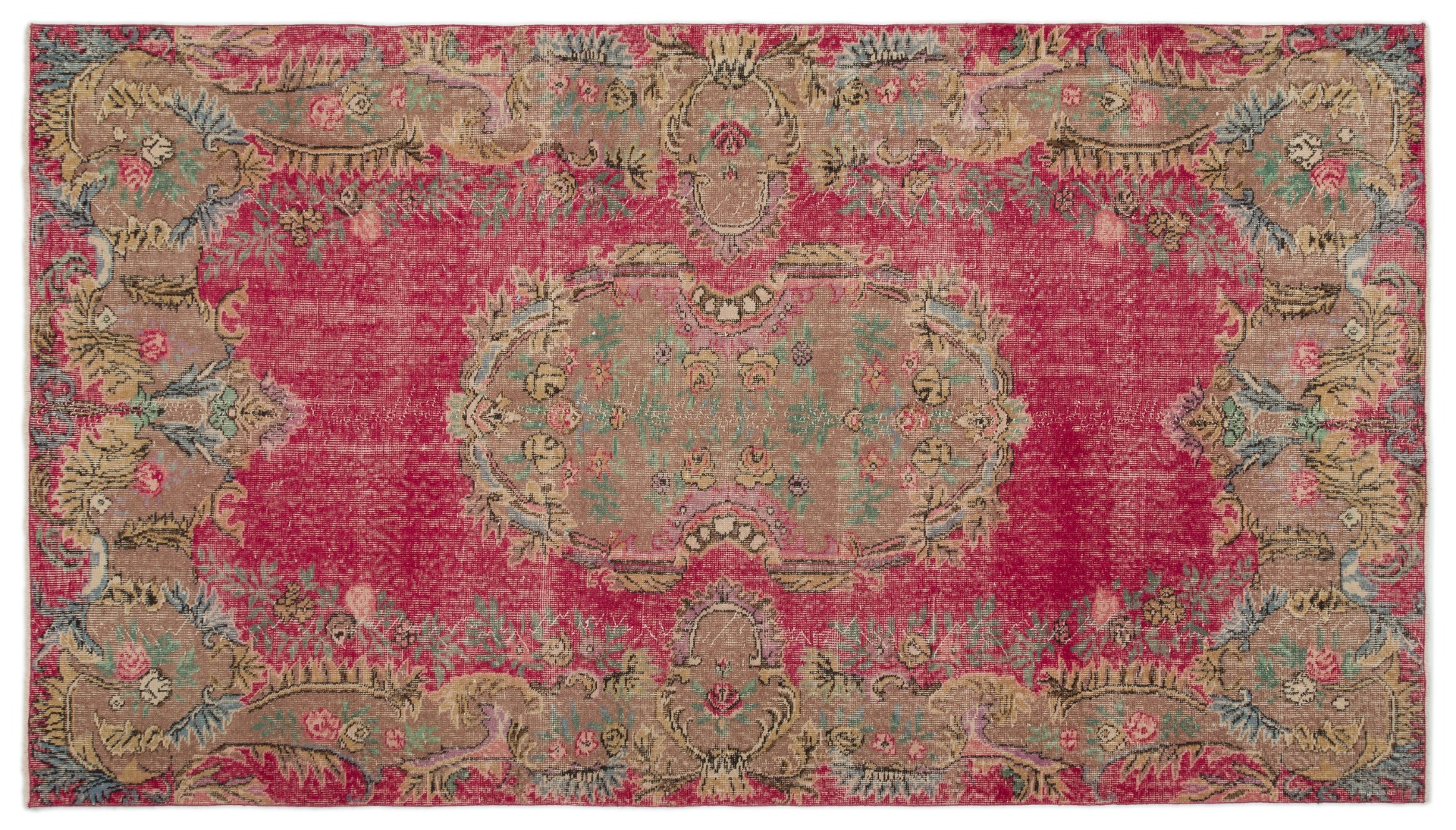 Vintage vloerkleed rood nr:20081 291cm x 166cm
