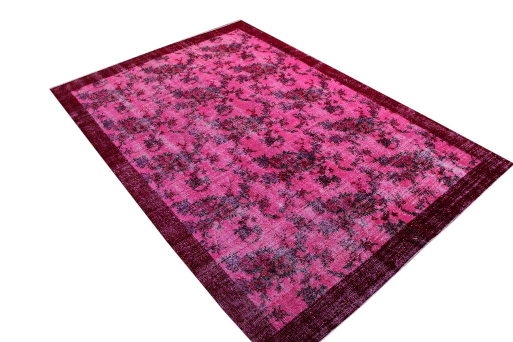 Recoloured  roze vintage vloerkleed  uit Turkije 302cm x 205cm, no 204