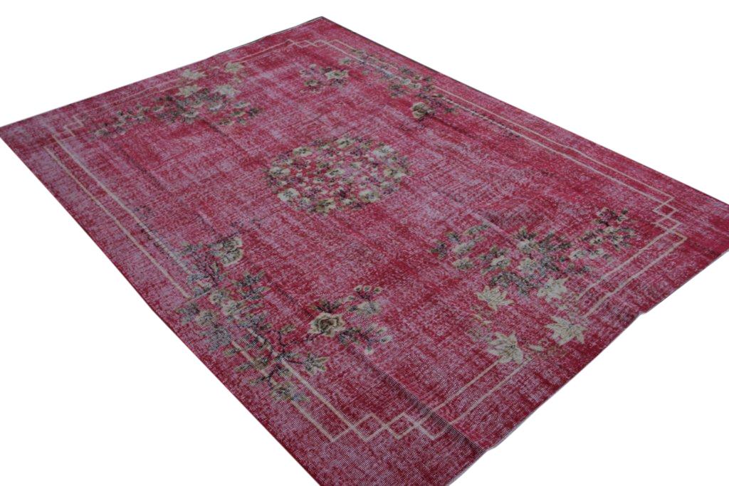 Roze rood recoloured vintage vloerkleed uit Turkije 305cm x 219cm, no 2045