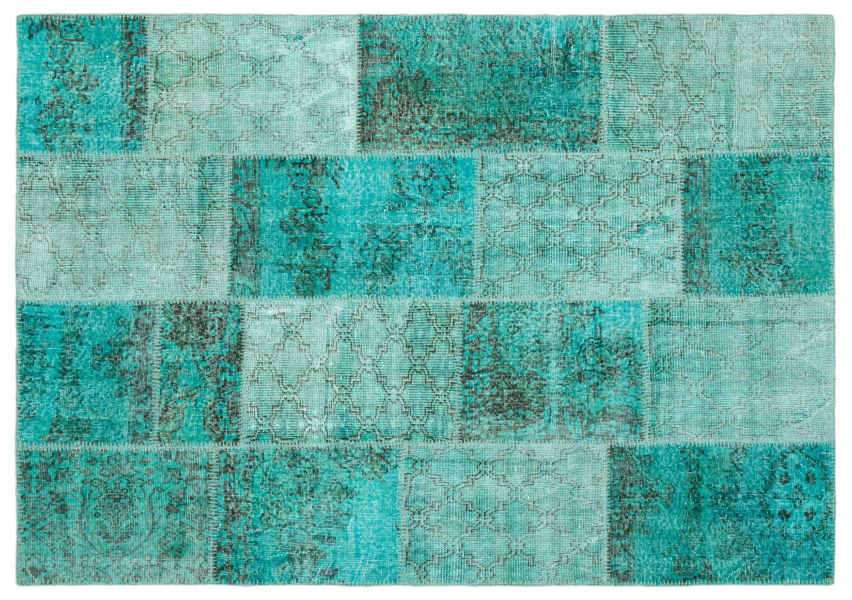 Patchwork vloerkleed turquoise nr.20642 231cm x 161cm